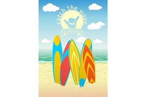 Poster design with surf boards