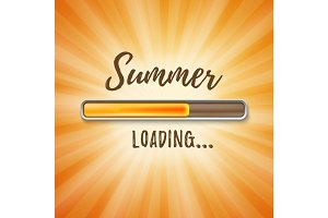 Summer loading bar orange background with sun rays.