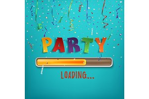 Party loading poster template.