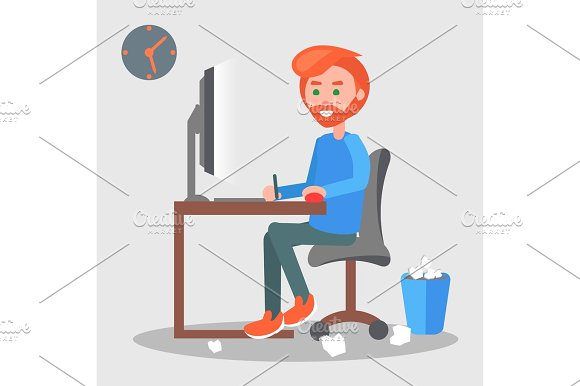 Freelancer At The Workplace Flat Vector