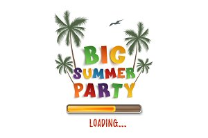 Big summer party loading poster template on.