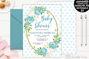 Aqua Flowers Baby Shower Invitation