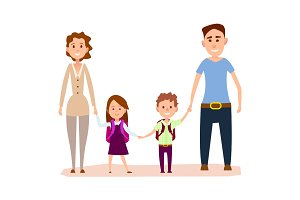 Happy Cartoon Family with Small Kids Illustration