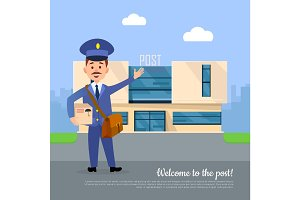 Welcome to Post Banner. Postman Pointing on Office