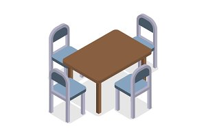 Chair and table isometric design. Cafe furniture