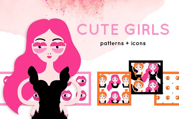 Cute Girls Patterns And Icons