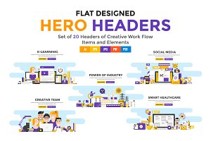 Modern Flat Color Banners Design