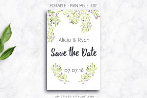 Printable Save The Date Card, Olive