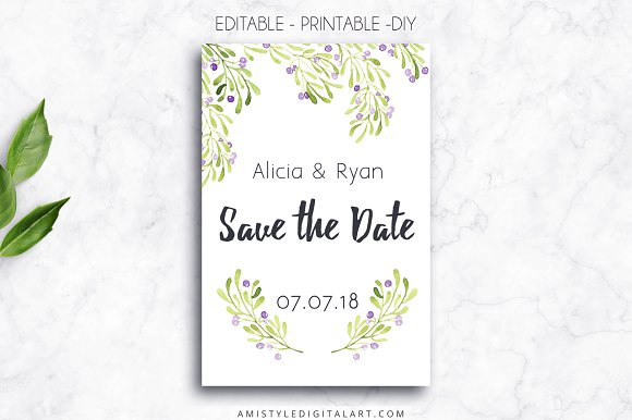 Printable Save The Date Card Olive Invitation Templates