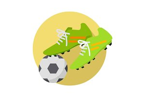 Soccer Ball With Boots Flat Vector Illustration