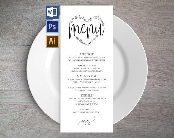 Wedding Menu Template Wpc 124 Invitation Templates Creative Market