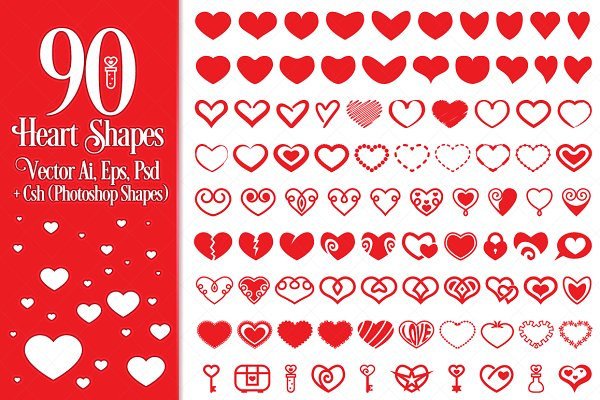 Shapes: pixaroma - 90 Vector Heart Shapes