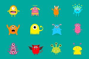 Monster big set. Cute characters.