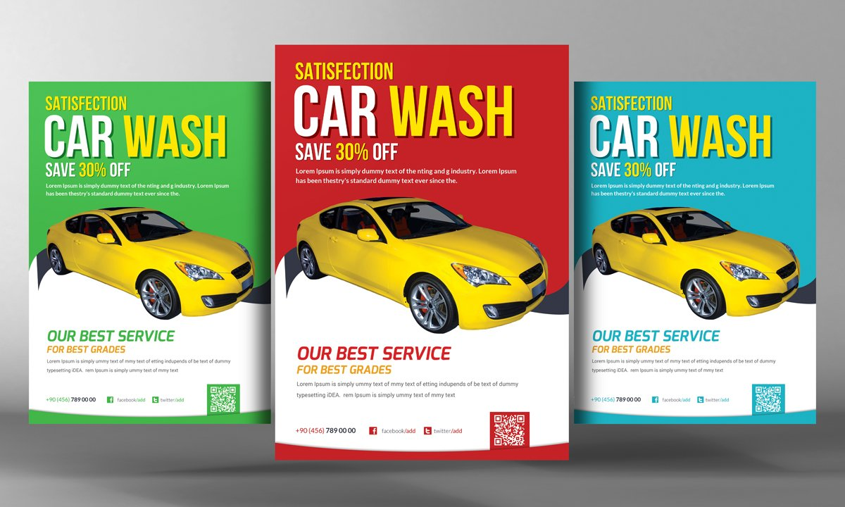 car wash flyer template flyer templates creative market. Black Bedroom Furniture Sets. Home Design Ideas