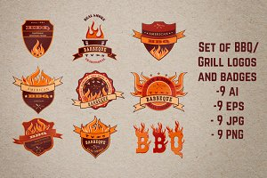 Set o9 BBQ Grill Steak House logos