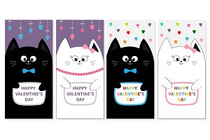 Happy Valentines day set. Cat family