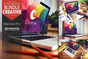 20 PSD Macbook Mockups set Creative