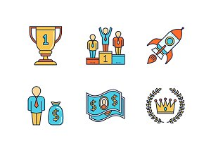 Lineart colored business iconset