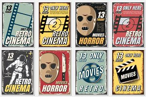 Posters of movie in retro style.
