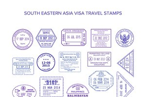 Passport stamps set for south asia