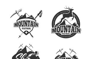 Ski mountain patrol logos set