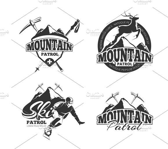 Ski Mountain Patrol Logos Set