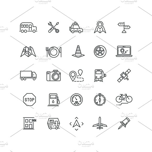 Travel And Location Line Icons
