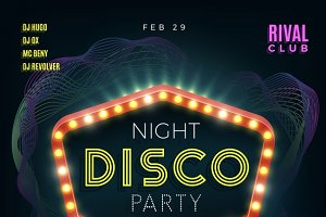 Night disco dance party poster