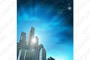 Blue corporate cityscape