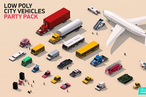 Low Poly City Cars Vehicles Pack