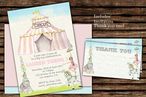 Circus Birthday Invitation Digital