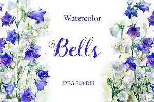 SALE! Watercolor bells flowers