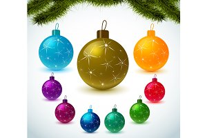 Set colorful christmas balls