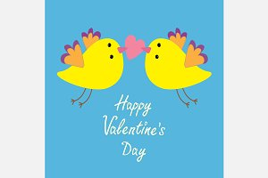 Flying yellow bird. Valentines Day
