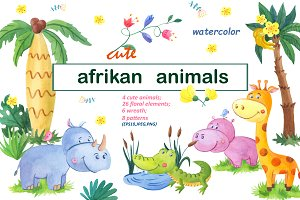 Cute afrikan animals.Watercolor set.