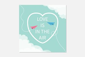 Love is in the air. Heart, planes