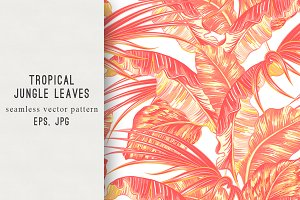 Tropical leaves vintage pattern