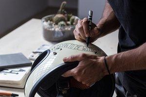 Calligraphy artist designs helmet