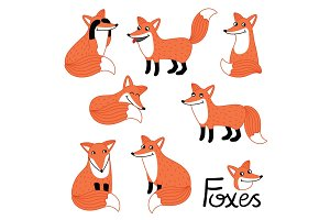Cute little fox hand drawn characters set