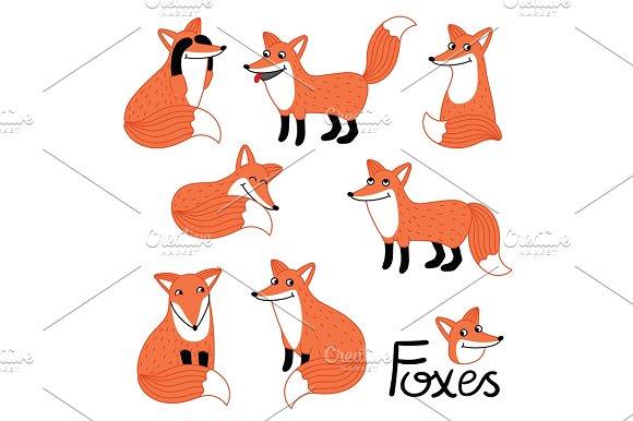Cute Little Fox Hand Drawn Characters Set