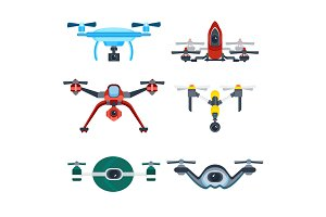 Quadrocopter Drone with Camera Cartoon Vector Icon