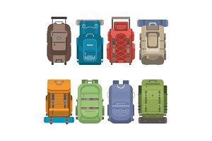 Tourist backpack set in flat design