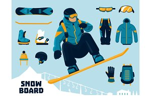 Snowboarder and winter sports equipment set