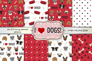 Dogs seamless vector pattern set