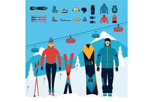 Snowboarder and skier equipment set