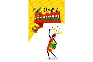 Happy kwanzaa candles design illustrations creative market greeting card for kwanzaa m4hsunfo