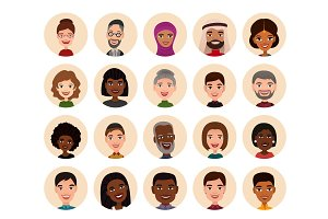 Happy people round avatar icon set
