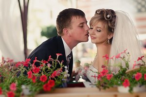 Young couple in love bride