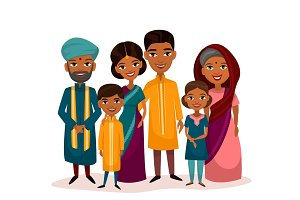 Big happy indian family cartoon concept