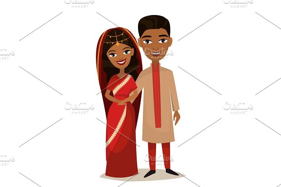 Happy Indian Young Family Couple